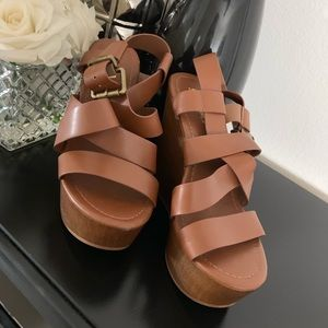 Brown strappy wedge heels